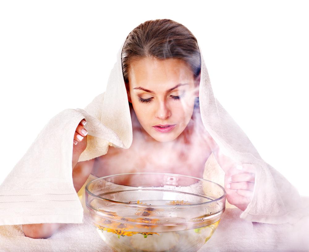 buhar banyosu yapan kadın